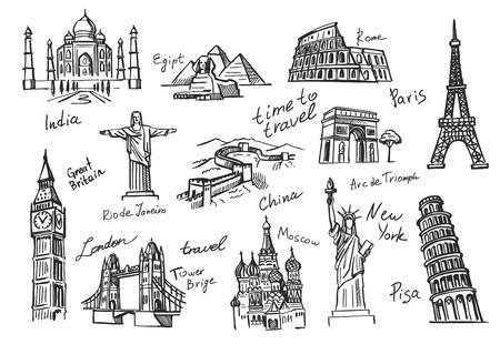 SEYEHAT: Vektör elle çizilmiş seyahat simge kroki doodle