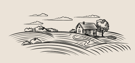 country landscape: vector black farm and field on beige background