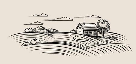 Vector granja negro y el campo en el fondo de color beige Foto de archivo - 48556581