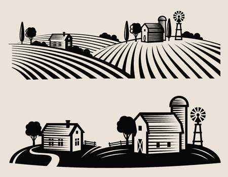 black and white farm: vector black farm and field on beige background