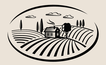 vector black farm and field on beige background Imagens - 48556591