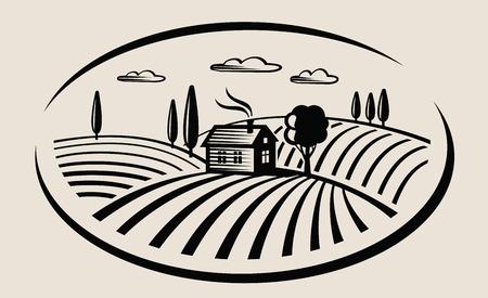 vector zwarte boerderij en veld op beige achtergrond