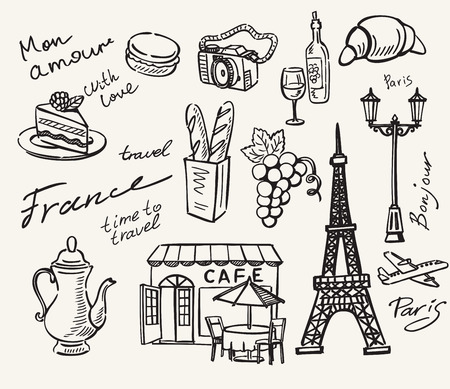 vector hand drawn paris icon sketch doodle