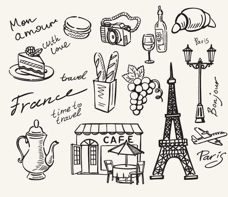 vector hand getekende parijs pictogram schets doodle