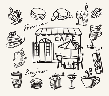 building sketch: Vector illustration with hand drawn of cafe