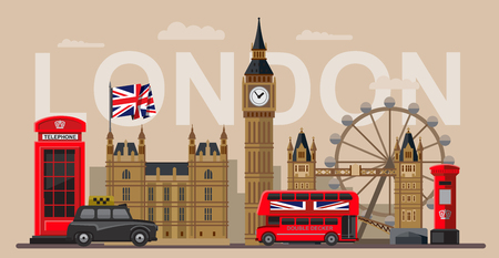 bus anglais: couleur vecteur Grande-Bretagne et Londres, icône, ensemble
