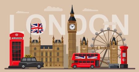 turismo: vettore colore Gran Bretagna e Londra set di icone