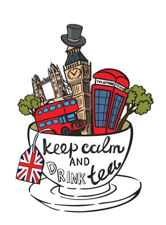 inglese flag: vettore colore Gran Bretagna e Londra set di icone