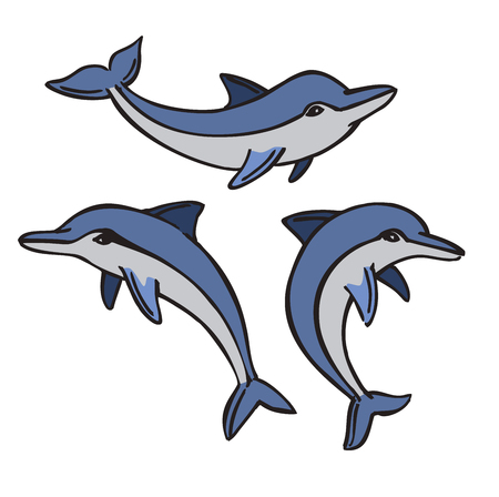leaping: vector of a dolphin icon set on white background Illustration