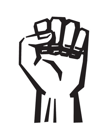 raised: vector black Fist icon on white background