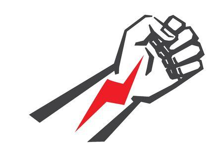 la union hace la fuerza: vector icono Pu�o negro sobre fondo blanco Vectores