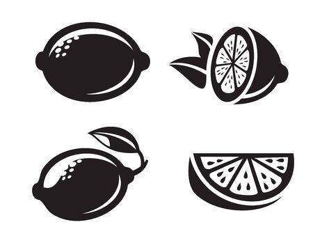 citron: black vector lemon icons isolated on white