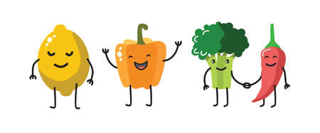 eat healthy: vector color fun vegetable characters on white