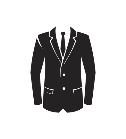 white suit: vector black Suit Icon on white background