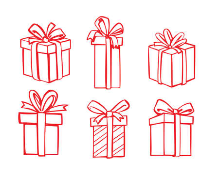 giftware: vector red gift icon set on white
