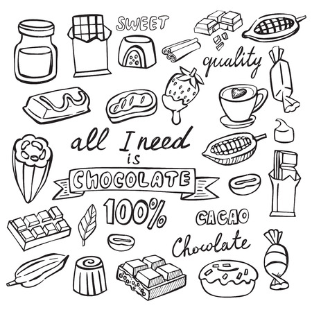 solids: vector cocoa and chocolate icon set on white