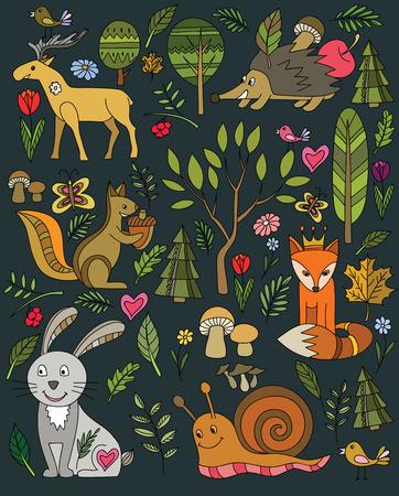 animales del bosque: bosques y animales conjunto de iconos en negro Vectores