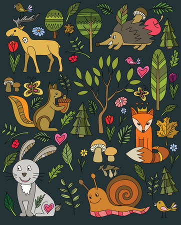 colourfull: forest and animals icon set on black Illustration