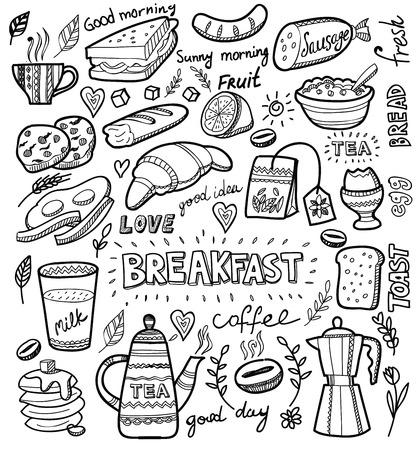 breakfast: desayuno y mañana conjunto de iconos en blanco