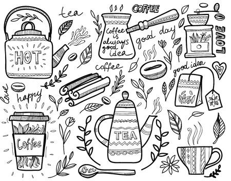 chicchi di caff?: tè e caffè set di icone su bianco