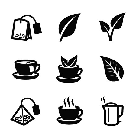 tea leaf: vector black tea icon on white background