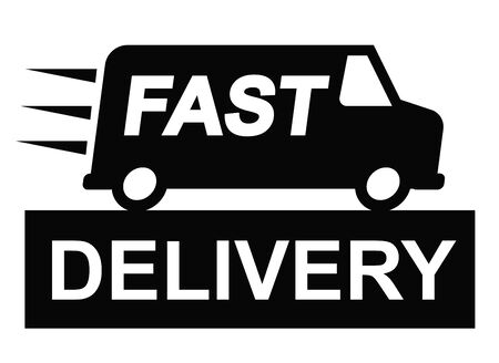 deliver: vector Fast delivery truck icon on white background Illustration