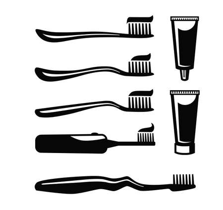 paste: vector black Toothbrush With Paste icon on white background