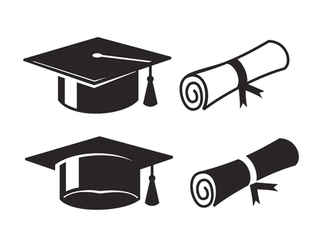 academics: vector black graduation cap and diploma on white background