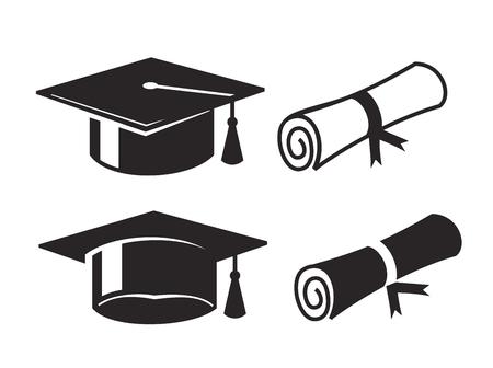 graduacion: vector negro gorro de graduación y diploma sobre fondo blanco