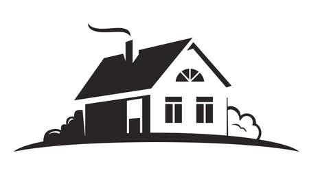 house icon: vector black house icon on white background