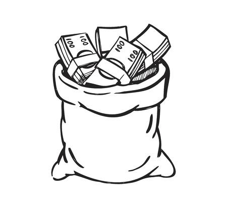 million dollars: vector black money bag on white background