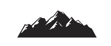 vector black mountain icon on white background