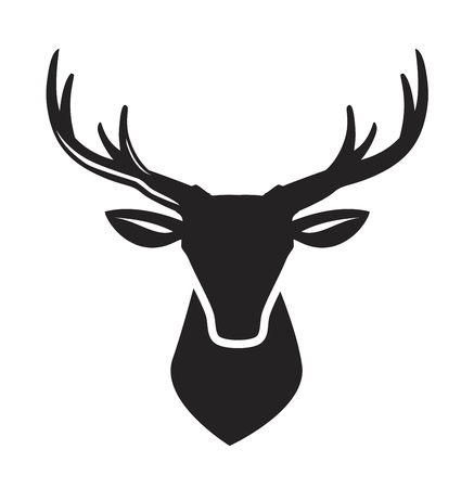 vector black deer head icon on white background Ilustracja