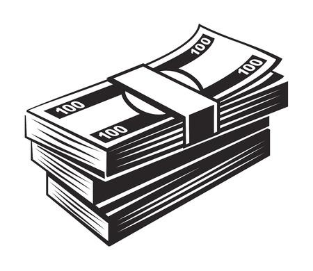 set di icone di denaro nero su sfondo bianco Vettoriali