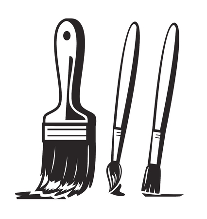 vector black paint brush icon on white background