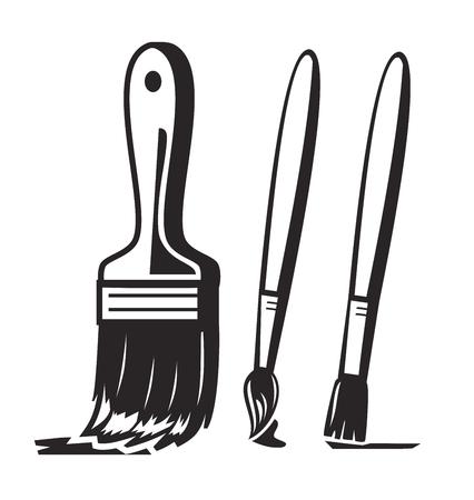 vector penseel pictogram zwarte verf op een witte achtergrond Stock Illustratie