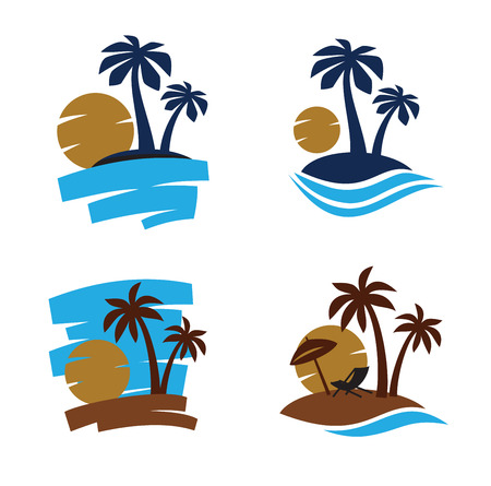 caribbean beach: vector Palm trees silhouette on white background Illustration