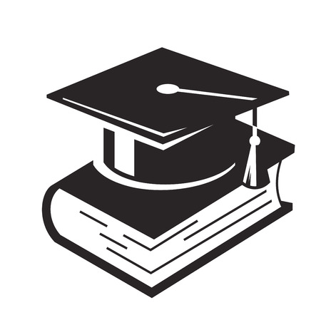 black  cap: vector black Graduation Cap and books on white background Illustration