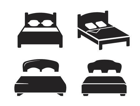 people sleeping: vector black Bed icon on white background Illustration