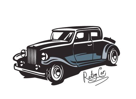 coupe: vector black Retro car, vintage icon on white background Illustration