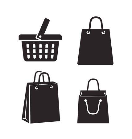 fashion shopping: vector black shopping bag on white background