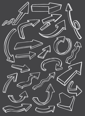 sketched shapes: vector black arrow icon on gray background