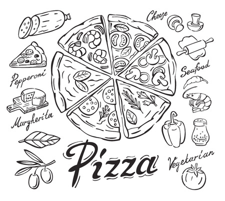 vector black pizza icon on white background Stock Vector - 51245285