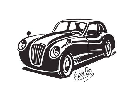 Vector retro del coche negro, icono de la vendimia en el fondo blanco