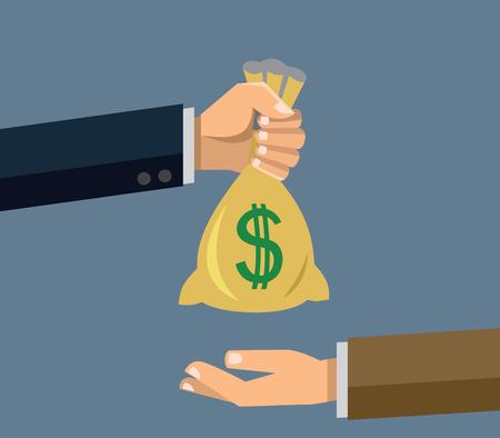 hand holding money bag: vector Hand holding money bag on gray background Illustration