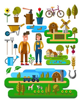 illustrazione vettoriale di icone agricoltura e allevamento
