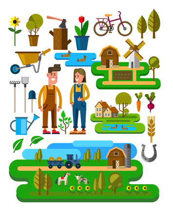 vector illustration of Agriculture and Farming icons Stock Illustratie