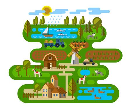 ilustración vectorial de los iconos de la agricultura y ganadería