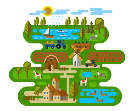vector illustration of Agriculture and Farming icons Ilustração