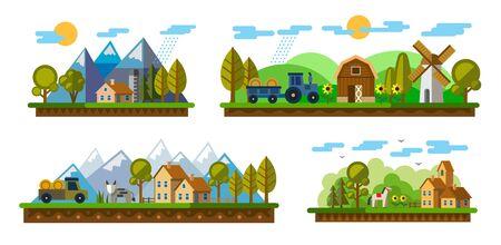 illustrazione vettoriale di icone agricoltura e allevamento Vettoriali